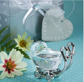 Free shipping 20sets Crystal Baby Carriage in Satin Gift Box baby shower favor gifts