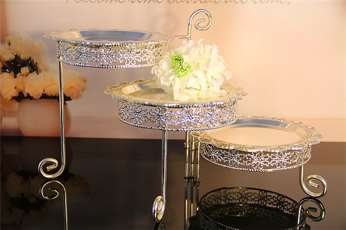 3 Tier Iron Cake Stand with 3 Dish Silvery Cupcake Holder Desserts - Kitchen, Dining and Bar - Photo 1