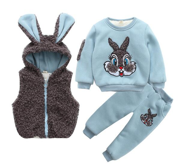 Baby Boys Fashion Suits 2017 Winter Fleece Coats+Rabbit Tops+Pants Kids Outfits 2PCS Set Suits Children's Warm Clothing Sherry baby boys fashion suits 2017 winter fleece coats rabbit tops pants kids outfits 2pcs set suits children s warm clothing sherry