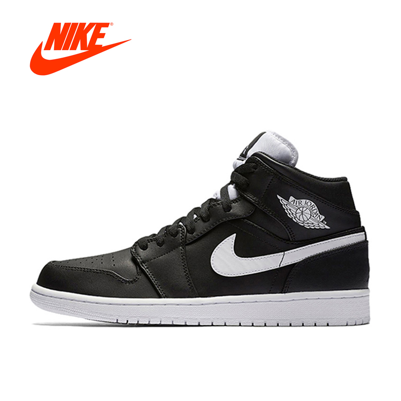 New Arrival Official Air Jordan 1 MID AJ1 Breathable Men's Basketball Shoes Sports Sneakers mens sneakers nike nike nike air jordan 1 mid original girl kids basketball shoes children causal skateboarding sneakers