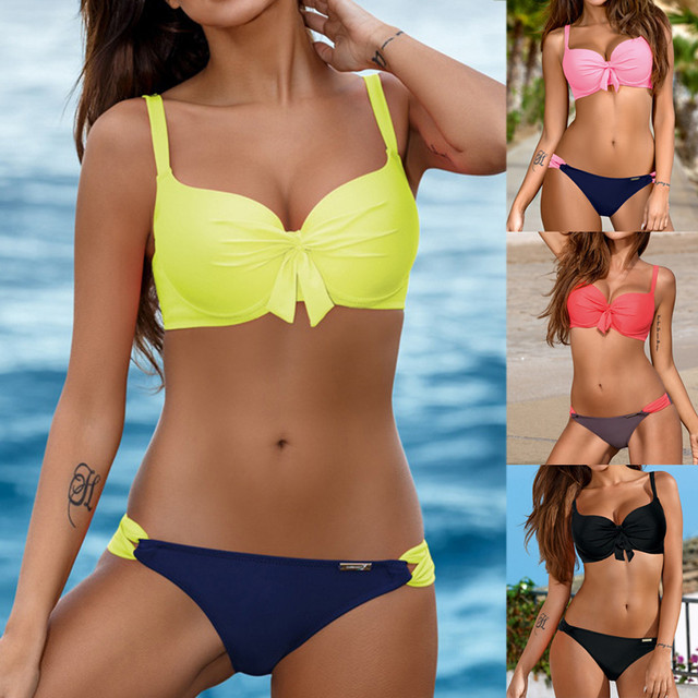 New Summer Women Solid Bikini Set Push-up UnPadded Bra