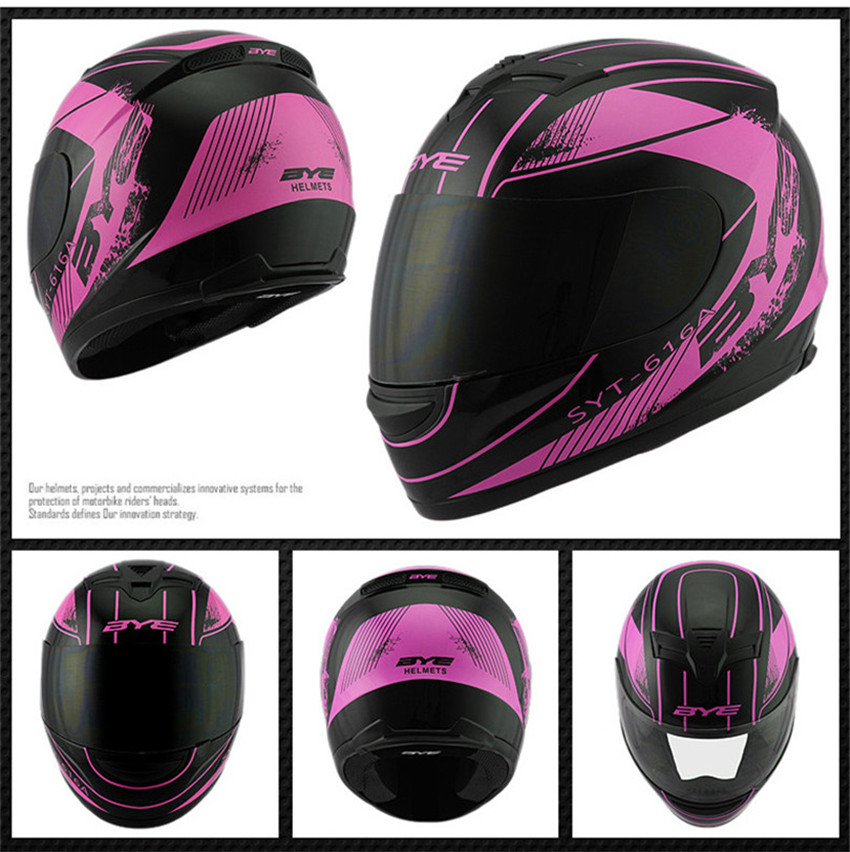 Women and Men pink color Motorcycle Helmet Full Face Helmet MOTO Racing with neckerchief fremoved and