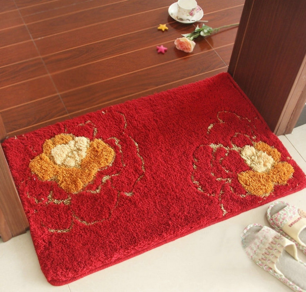 NiceRug Épaississement Salle De Bains antidérapant Tapis Absorbants Rouge Fleurs Imprimer Intérieur Carpet Tapis de Sol Rectangle Cuisine Tapis Tapp - 2