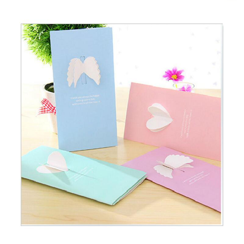 20pcs New Valentine 's Day Creative Wings Love Greeting Cards New Year Christmas Birthday Message Blessing Cards with Envelope 1 set of hollow valentine s day greeting card kraft paper card holiday cards birthday cards blessing