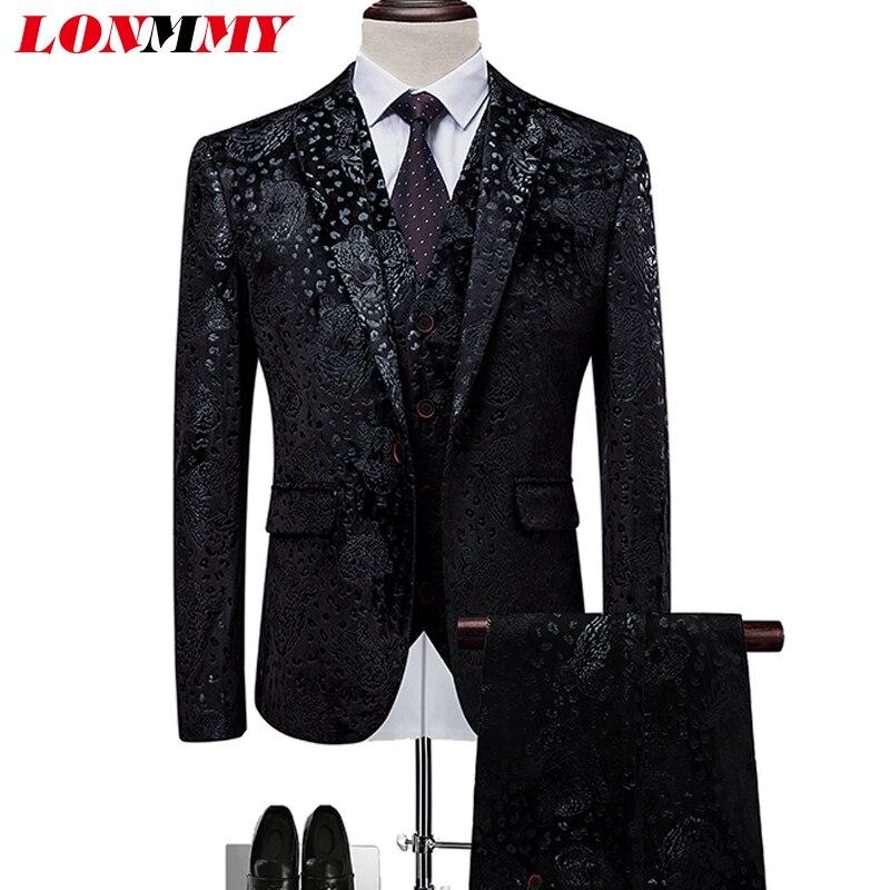 LONMMY Hommes de mariage costumes blazer hommes costumes formelle 3 pièces Veste + pantalon + gilet de Smoking Floral Mens blazer gilet hommes mince 6XL