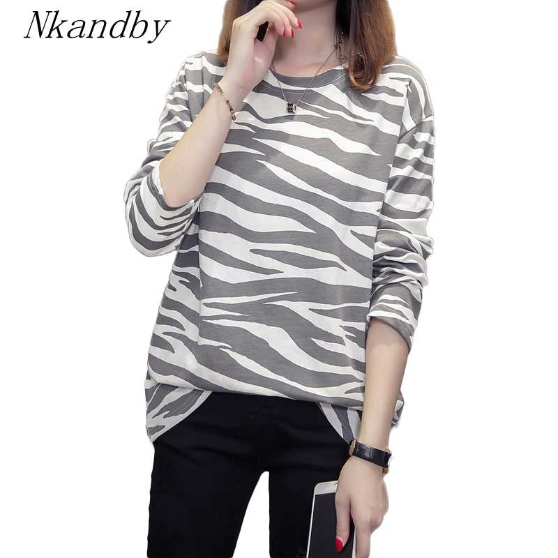 Nkandby Plus Size Tshirt For Women 2019 Fall Vogue Loose Striped Long Sleeve Tops Tee Shirt Oversized Cotton Basic T-shirts 4xl