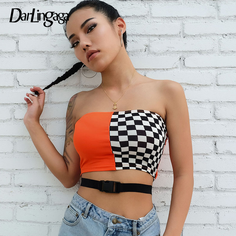 Darlingaga streetwear checkerboard tube   top   women buckle belt strapless crop   tops   sexy casual   tank     top   2019 bandeau cami clothes