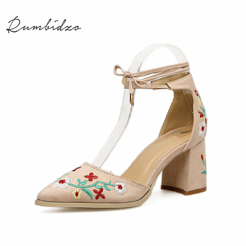 Rumbidzo Women Pumps 2018 Embroider Pointed Toe Ankle Strap Lace Up high Heels Shoes Women Thick Heel Sapatos Feminios pearl high heels shoes thick green women strange suede abnormal catwalk genuine leather pointed toe strap mary jane lace up