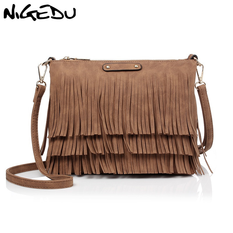 цены NIGEDU Vintage Tassel Shoulder Bag Small Female Crossbody Bags for Women Messenger Bags Pu Leather Handbag and Wallet bolsa