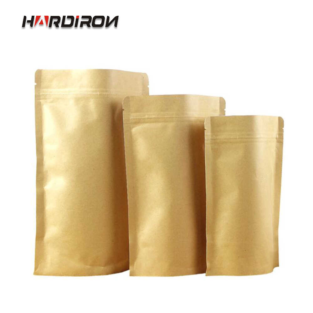 HARDIRON 0.28MM 100PCS Yellow kraft Paper Built-in Aluminum Foil Zipper Bag Coffee Nut Resealable Standing Storage Package Bag