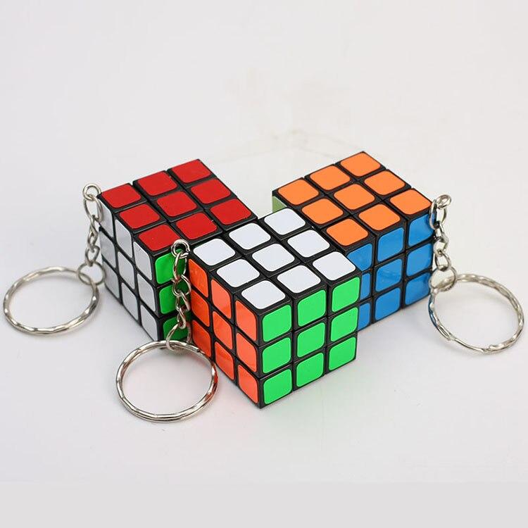 Magic Cubes Keychain 3x3x3 3CM Magic Cubes Pendant Twist Puzzle Toys For Children Gift Magic Cube(China)