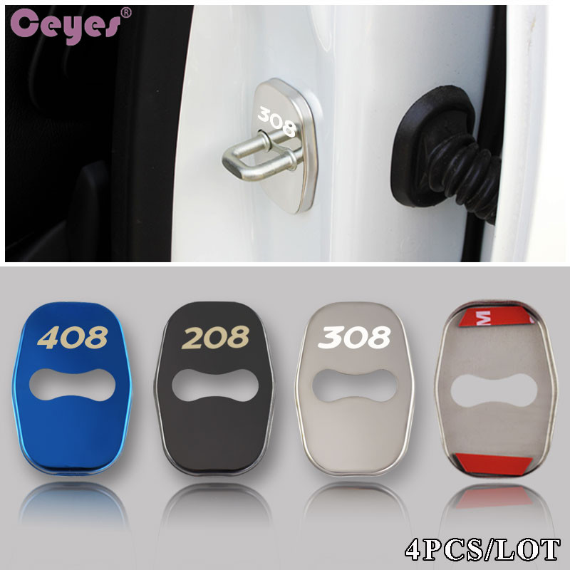 Ceyes Car Styling Auto 4pcs Door Lock Cover Badge Case For Peugeot 308 408 508 RCZ 208 3008 2008 Emblems Accessories Car-Styling free shipping zinc alloy leather cover case car styling smart key shell for peugeot 2008 3008 4008 308s 408 508 car remote