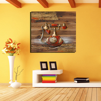 Gendi الكلاسيكية 3d أرضية الخشب القديم قماش اللوحة ديكور المنزل خمر المشارك hd النفط اللوحة مربع جدار الفن الديكور