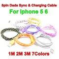 BrankBass 1 m 2 m 3 m Cable de Carga Rápida USB Trenzado Tela Redonda tejido 8pin data sync cable cargador para iphone 5 5s 6 6 plus