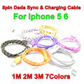 BrankBass 1m 2m 3m Fast Charging USB Cable Braided Round Fabric Woven 8PIN Data Sync Charger Cable for Iphone 5 5s 6 6plus