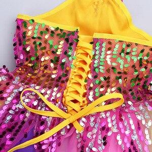 Image 5 - Tenue de danse pour enfants filles, robe Tutu à fleurs, col licou, paillettes colorées, salon de Ballet pour enfants