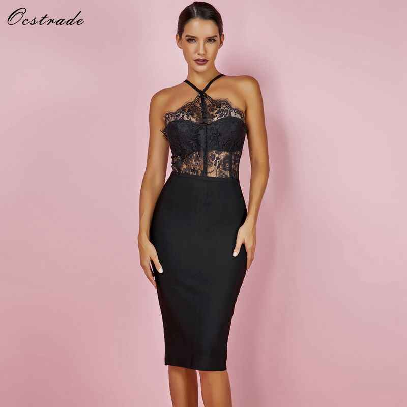 72159d2f6a5 Ocstrade Summer Women Bandage Dress 2018 New Arrival Sleeveless New Arrival Party  Black Sexy Lace Bodycon