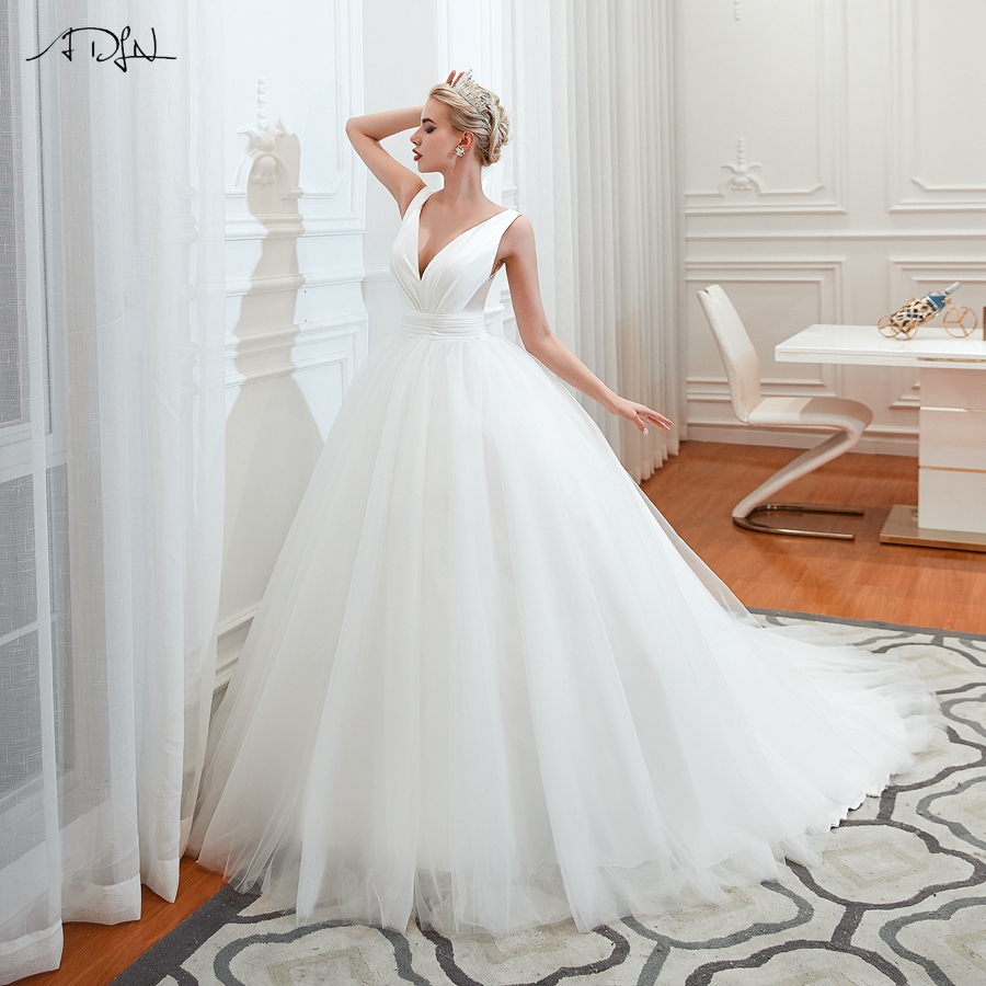 ADLN Gorgeous Ball Gown Wedding Dresses Simple V-neck Sweep Train Elegant Plus Size Vestido De Noiva Bride Dress