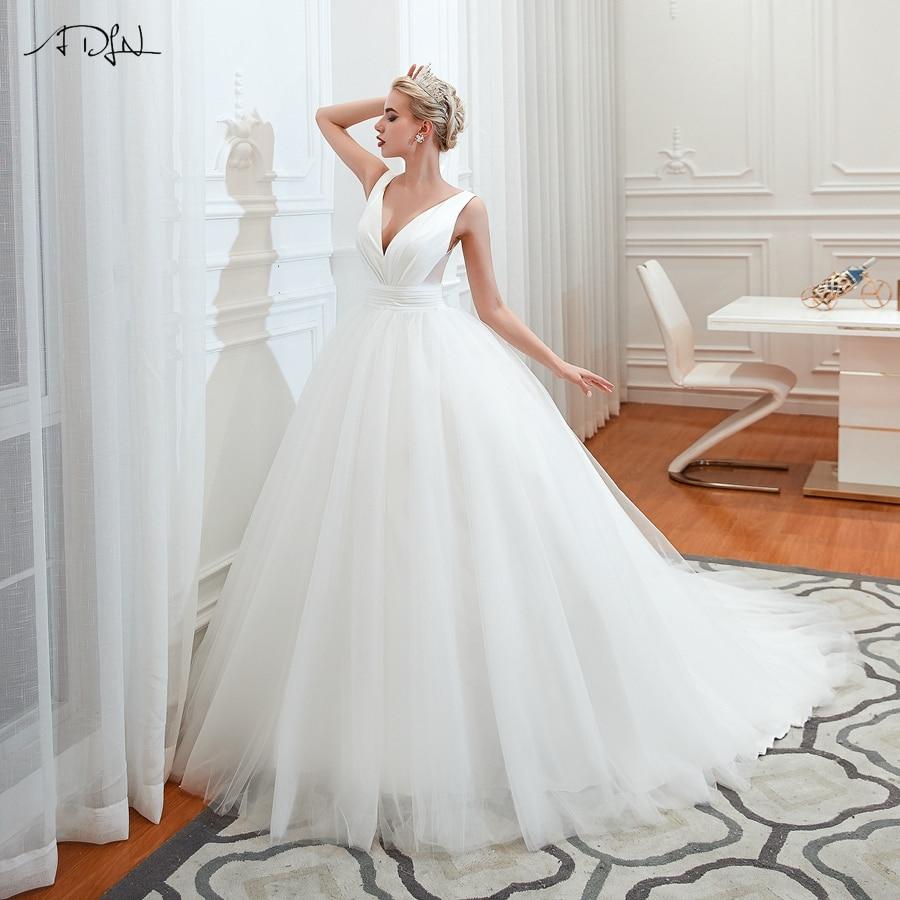 ADLN Gorgeous Ball Gown Wedding Dresses Simple V-neck Sweep Train Elegant Plus Size Vestido De Noiva Bride Dress