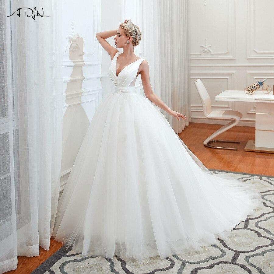 Jiayigong Gorgeous Ball Gown Wedding Dresses Simple V-neck Sweep Train Elegant Plus Size Vestido De Noiva Bride Dress