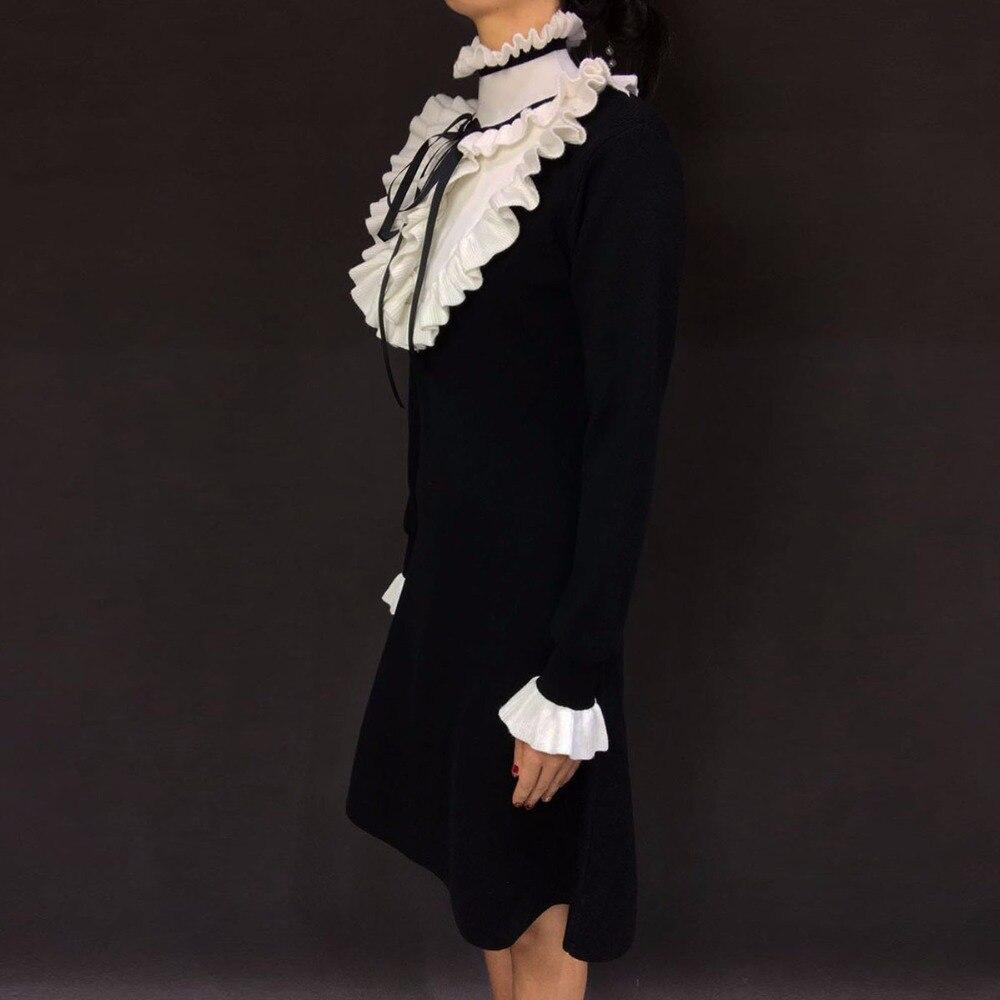 Festa 2018 Longues 2 Chandail Robe Nouveau Ruches A Tricoté Robes Casual Mode De Patchwork 1 Printemps Manches Femmes ligne RIanUrR