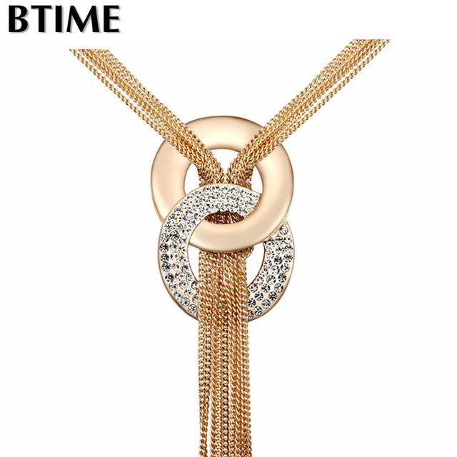 2015 Nueva borla romántica y elegante collar con elementos de Swarovski joyas de cristal para mujer marca de moda cadena de cuello larga y amorosa