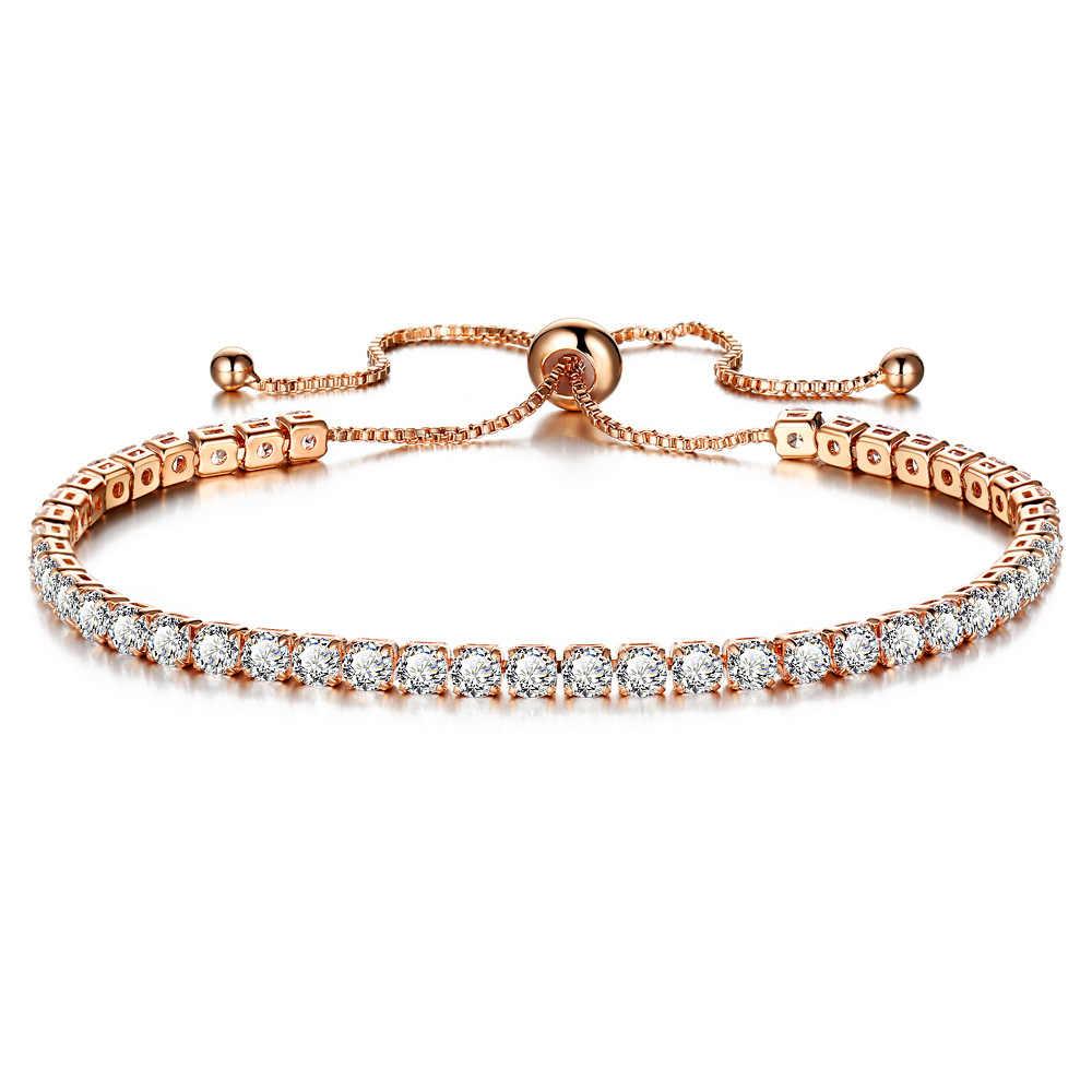 หรูหราสีขาวคริสตัลสีชมพูสร้อยข้อมือสำหรับงานแต่งงาน Gold สร้อยข้อมือ Rhinestone Charm กำไลข้อมือเครื่องประดับ Pulseira Feminina A191