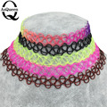 ASQUEEN Q Brand Vintage Stretch Tattoo Choker 90s Necklace Retro Gothic Punk Elastic 80s 90s vogue Black/Colorful Free Shipping