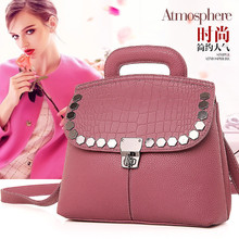 New 2016 Fashion Lichee Pattern Leather Women Handbag Rivets Small Shoulder Bag Ladies Bag Casual Tote sac Women Messenger bags