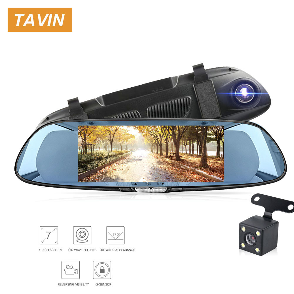 7.0/'/' Car Camera DVR Mirror Monitor Video Camcorder Dash Cams Motion Detection