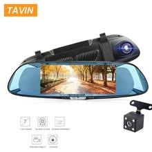 цена на TAVIN 7 Inch Car Dvr Touch Screen Dash Cam FHD 1080P Video Recorder Rearview Mirror DVRs With Rear View Camera Auto Registrator