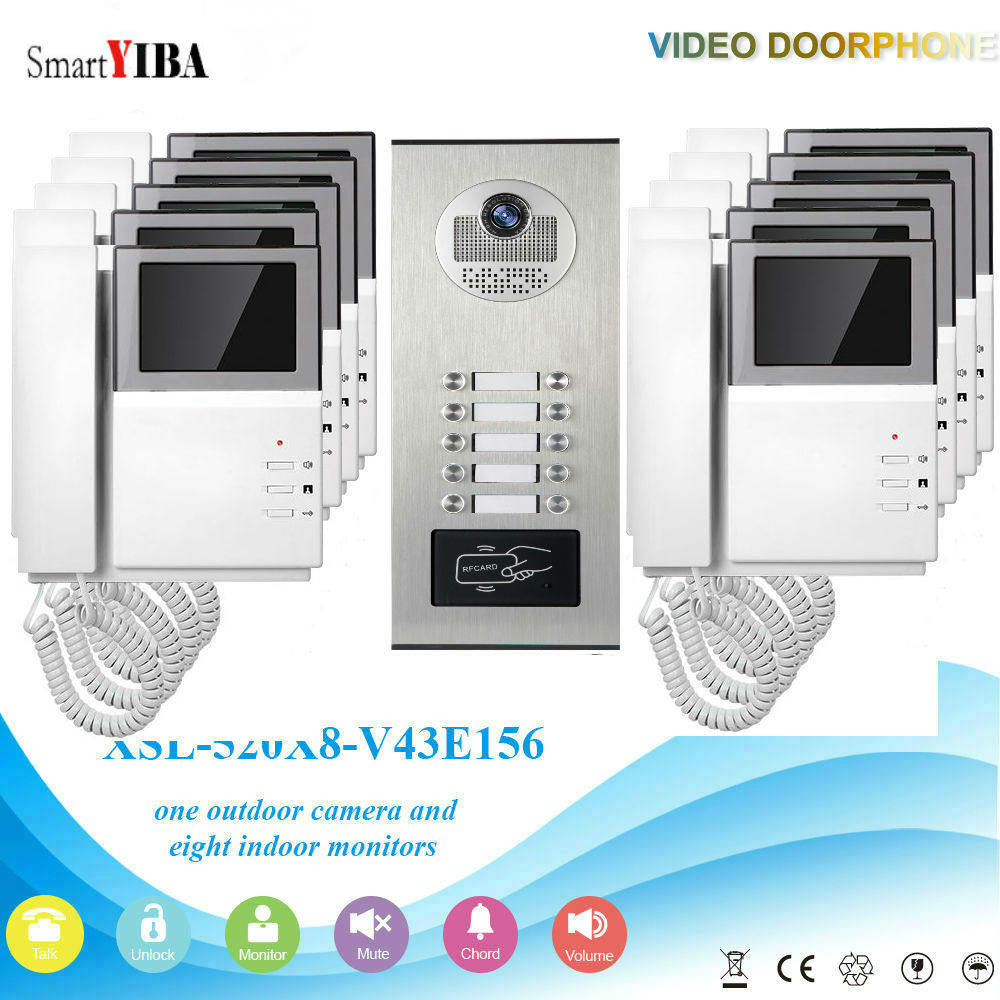 SmartYIBA Video Intercom 4.3Inch Video Door Phone Doorbell Intercom System RFID Access Control Door Camera For 10 Unit Apartment hd apartment building intercom system access control system of intelligent video intercom doorbell project customized wholesale