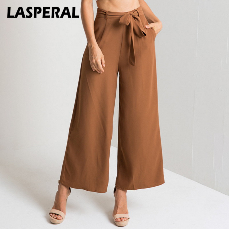 LASPERAL Spring Women Wide Leg   Pant     Capri   2018 Vintage Elastic Waist Casual Trousers Bottom Fashion High Waist Female Black   Pant