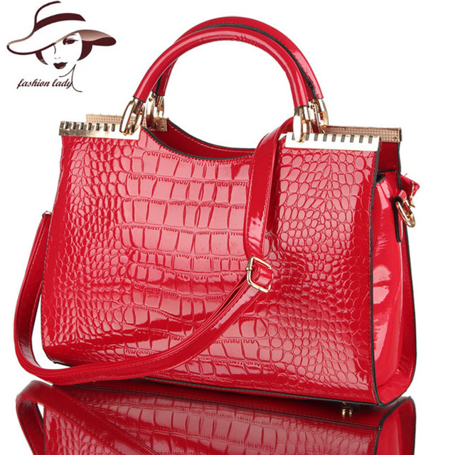 2017 fashion spring and summer crocodile pattern japanned leather patent leather handbag one shoulder cross-body bag for women