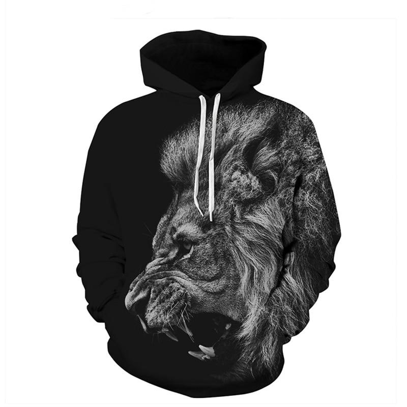 Fashion Animal 3D Hoodies Men King Lion 3D Printed Hooded Sweatshirt Men Roaring Lion Hoody Pullovers Unisex Large Size