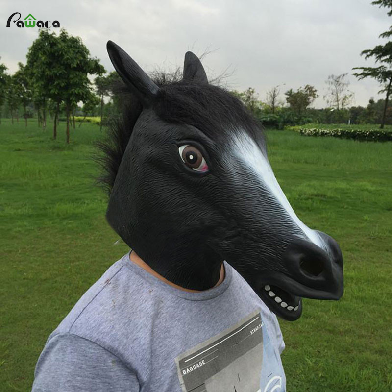 Creepy full face head Horse mask Rubber Animal Mask latex party Animal Mask kids Halloween Masquerade Party Mask funny