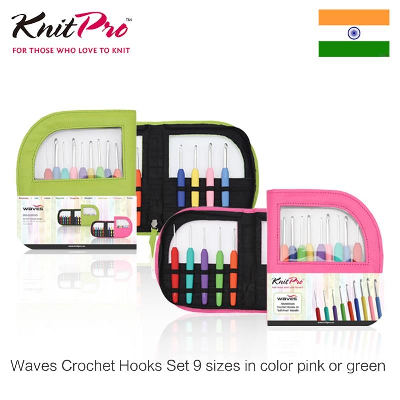 Ensemble de crochets à Crochet pour vagues tricpro 9 tailles en couleur rose ou vert