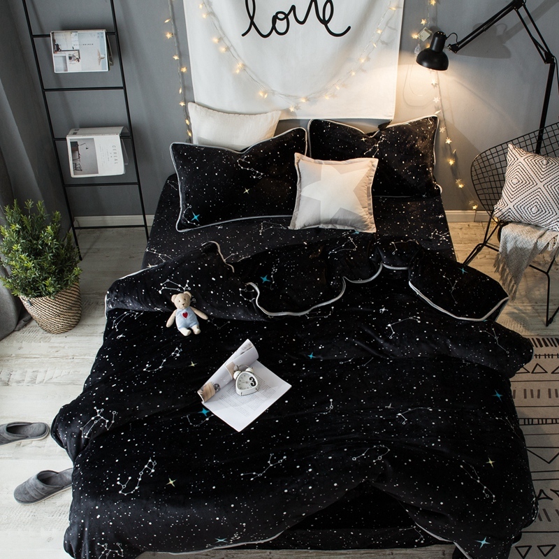 Winter style Black Fleece Star print Cool Bedding sets Queen King size Warm Soft Duvet cover Bed sheet set Pillowcase