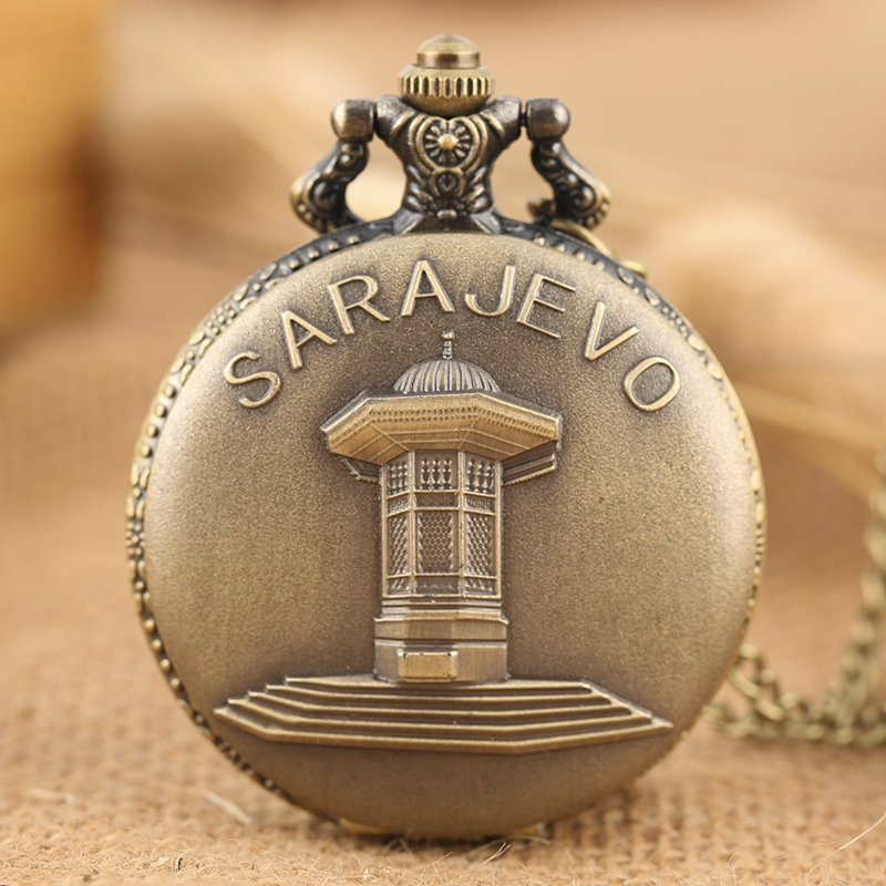 Sarajevo Sapele Sebli Pavilion Fountain Design Quartz Pocket Watch Necklace Pendant Chain Art Collections Top Gift For Men Women