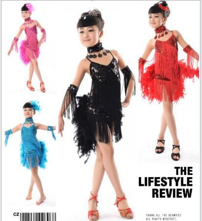 New 2017 Kids Child Fringe Sequin Feather Stage Performance Competition Ballroom Dance Costume Latin Dance Dress For Girls