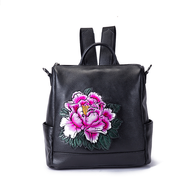 Women Backpacks Mochila Chicas Genuine Leather Flower Casual Girls Backpack Leather Fashion School Laptop Backpacks sac a dos chsanato fashion backpacks women school bags for teenagers girls leather backpack brands mochila sac a dos