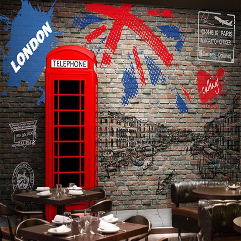 Buy custom photo wallpaper 3d vintage for Cafe wall mural