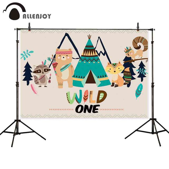 Allenjoy wild one photography backdrop Indian fox animal tent birthday party background Children photocall photobooth props new