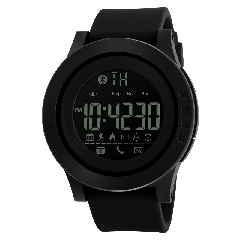 SKMEI 1255 Calorie Pedometer Men's Electronic Digital Wristwatch Waterproof App Reminds Bluetooth Man Creative Sport Watch black