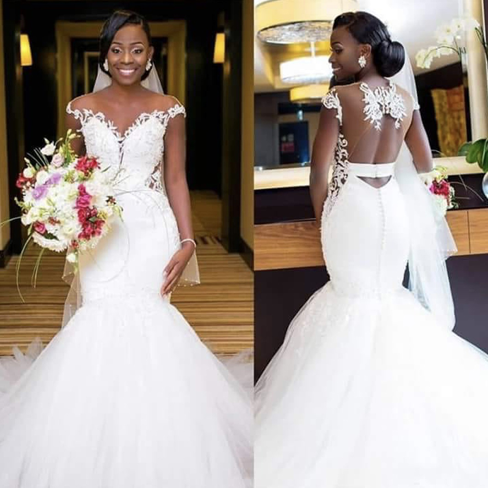 Fansmile 2019 New African Appliques Mermaid Wedding Dresses Sexy Open Back Bridal Gowns Vestido De Novia FSM-533M