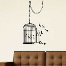 Home Decor Vinyl Animal Bird Cage Wall Decal Living Room Birdcage Wall Sticker Home Bird Free Poster Design Wallpaper AY727 sweet bird cage pattern removeable waterproof decorative wall sticker