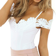 Bodysuit Women Lace Top Stitching Rompers Jumpsuits for 2019 Off Shoulder One Piece Body Femme Sexy Jumpsuit Mesh