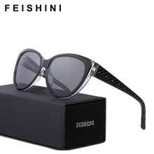 Feishini Luxury Polaroid UV400 HD Sun Glasses Cat Eye Elegant Checked Sexy Advanced Acetate Sunglasses Women Polarized Vintage