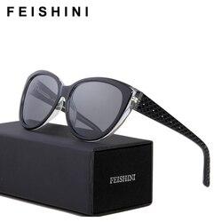 Feishini Luxury Polaroid UV400 HD Sun Glasses Cat Eye Elegant Checked Sexy Advanced Acetate Sunglasses Women Polarized Vintage