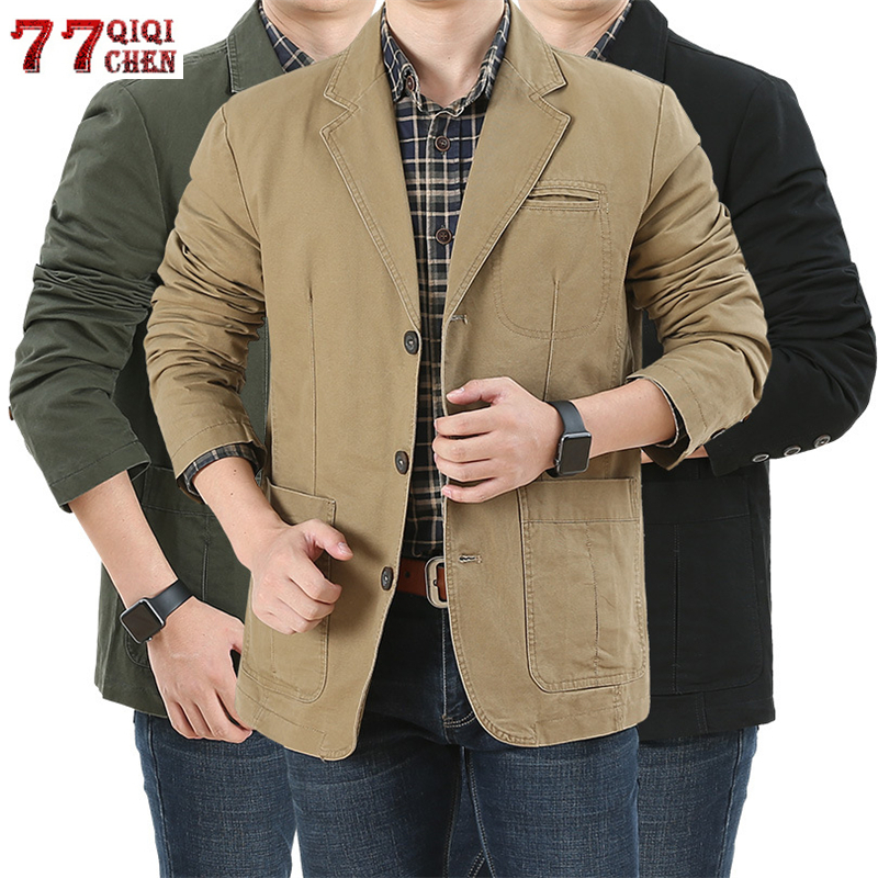 5XL Casual Blazer Jacket Men Spring Autumn Business Suit Coat Cotton Denim Bomber Military Jackets Men Outwear Jaqueta Masculina